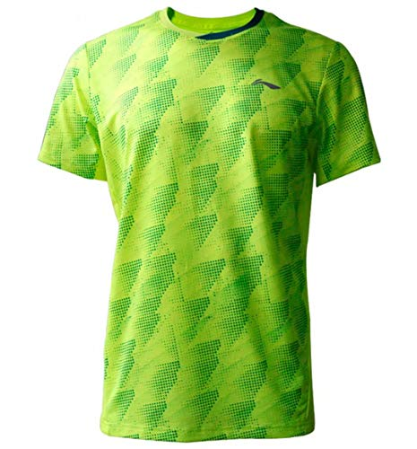 LI-NING Herren Badminton Wettkampf-T-Shirts Jersey 88% Polyester 12% Spandex Teamwear Futter bei Dry Basic Sport Tees AAYP063 -  Grün -  Groß