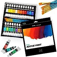 Ohuhu 24 Colours Acrylic Paint Set, Ohuhu 24 * 12 ml Acrylic Paint Set Whit 6 x Art Brushes for Painting Canvas, Clay,...
