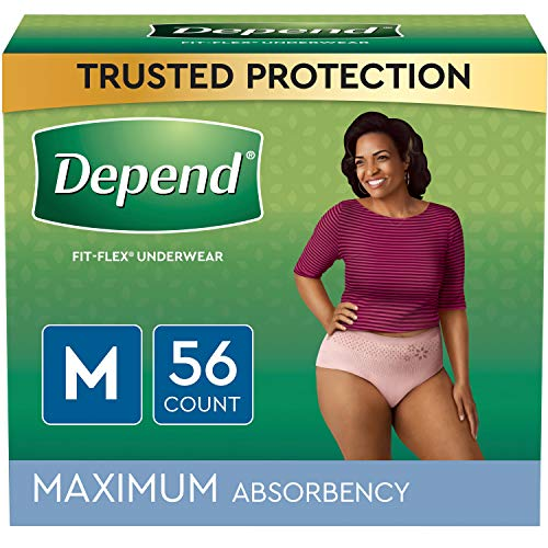 Depend FIT-FLEX Incontinence Underwear For Women, Disposable, Maximum Absorbency, Medium, Blush, 56 Count (2 Packs of 28) (Packaging May Vary)