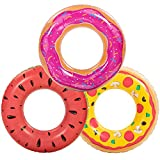 Inflatable Pool Floats (3 Pack), Watermelon Pizza, Donut Pool Tubes, Funny Pool Tube Toys for Kids and Adults, Beach Water Toys for Swimming Pool Party