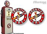2 Vintage Frontier Gasoline Pin-up Girl Rocket Rarin' to Go! Gas Pump 9' Decals Antique Gasoline Pumps Garage Service Station Sign Stickers ((2) 9' Round Decals)