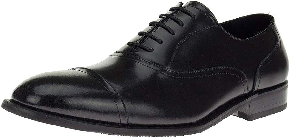 DTI Men's Leather Oxford Shoes Designer Dress Cap-Toe Lace-Up Z2088 Black