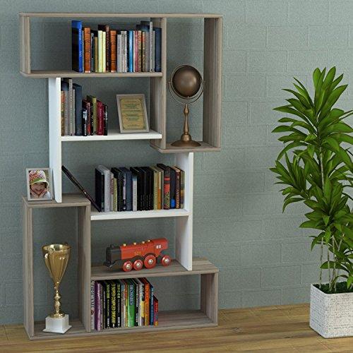 HOMIDEA CORGIN Libreria - Scaffale per Libri - Scaffale per Ufficio/Soggiorno dal Design Moderno (Avola/Bianco)