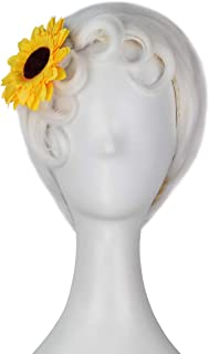 Miss U Hair Female White Short Straight Curl Aged Hair Halloween Costume Wig with Sunflower