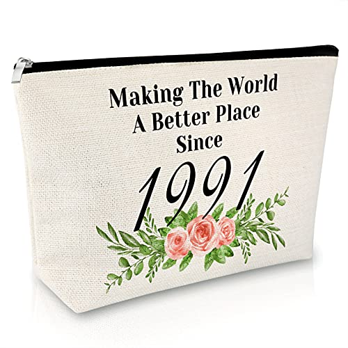1991 30th Birthday Gifts for Women Funny Makeup Case Cosmetic Bag for Her 30 Year Old Present Ideas for Wife Mother Bestie Travel Cosmetic Pouch to Best Friend Anniversary Christmas Gifts