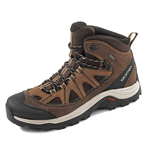 Salomon Men's Authentic Leather & GORE-TEX Backpacking Boots, Black Coffee/Chocolate Brown/Vintage Kaki, 12 M US