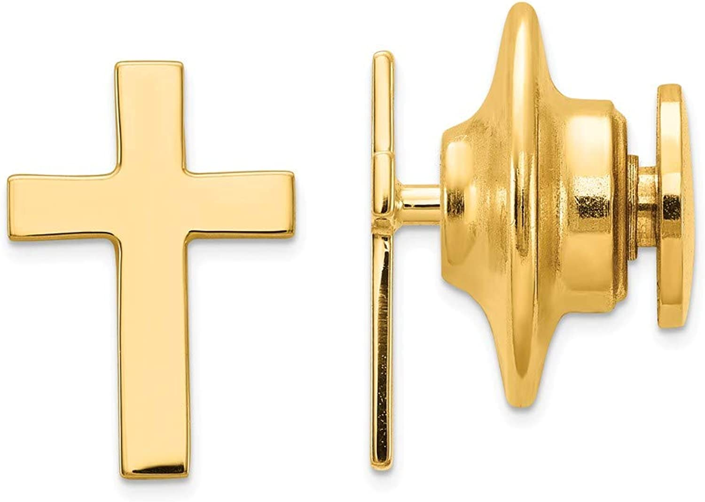 14k Polished Cross Tie Tac