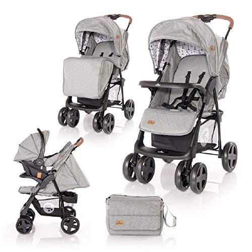 Lorelli Kinderwagen Set 2 in 1 Ines Autositz verstellbar faltbar Fußabdeckung, Farbe:grau