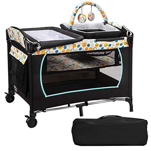 COSTWAY 4 in 1 klappbares Reisebett & Wickeltisch & Laufstall & Babykorb, 2 Ebenen Babybett inkl. Wickelauflage, Spieluhr, Spielzeug, Seitentasche und Tragetasche