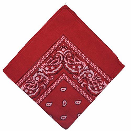 Boolavard 50 % de réduction – Bandana en coton national Paisley double face pour emballage écharpe (rouge)