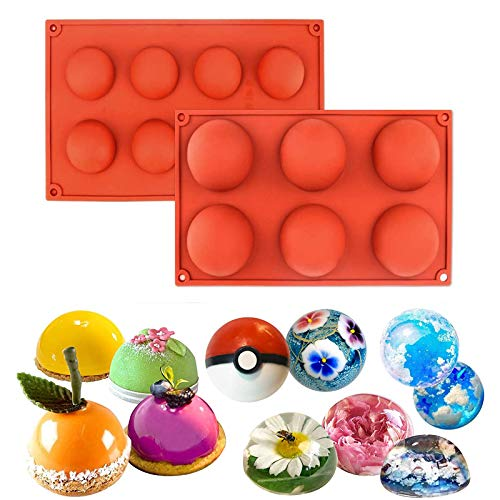 2 Pcs 6/8 Hole Semi-Sphere Round Silicone Mold, Half Sphere Baking Molds, Semi Circular Bakeware Set for Making Chocolate, Cake, Jelly, Soap, Ice Cream (6 holes)