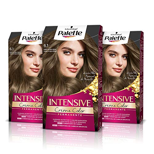 Palette Intense Cream Coloration Intensive Coloración del Cabello 6.1 Rubio Oscuro Ceniza - Pack de 3