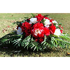 starbouquets Cemetery Saddle Flowers – Red Cream Open Rose and Ranunculus Bush Silk Flowers ~ Headstone Saddle Flowers