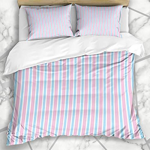 Soefipok Conjuntos de Funda nórdica Diversión Azul Tictac Pijama Raya Rosa Patrón Candy Niños Resumen Bebé Diseño Cumpleaños Microfibra Ropa de Cama con 2 Fundas de Almohada