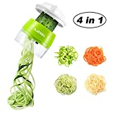 AJOXEL Vegetable Spiralizer Handheld, 4 In 1 Vegetable Slicer Vegetable Chopper Zucchini Spiralizer