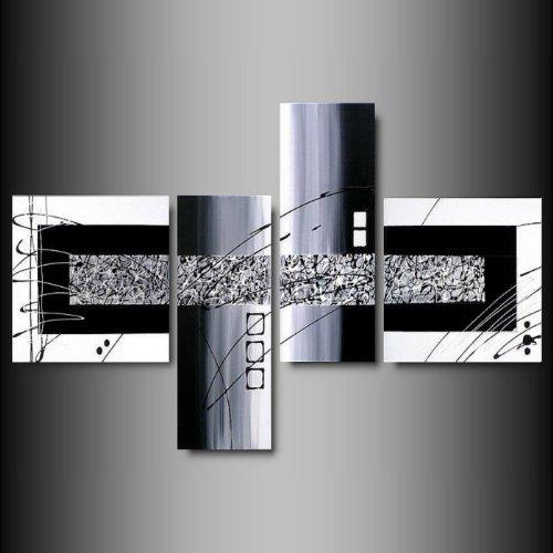 ART MMB 'Black & White - 4 Quadri Moderni Astratti Colore Bianco Nero Grigio Dipinto A Mano su Tela Gia' INTELAIATO