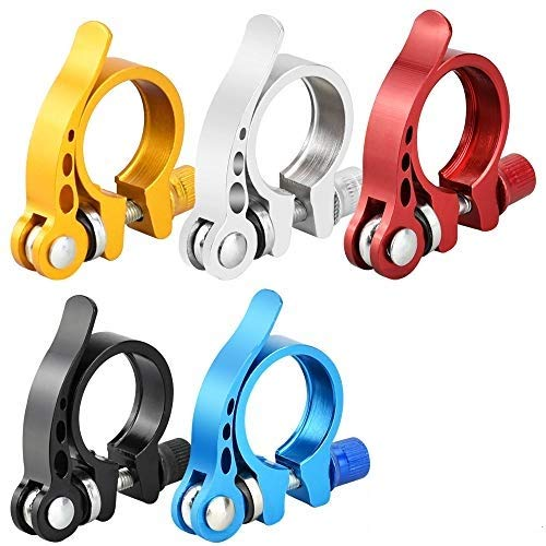 SNAGAROG 5 unids abrazadera de sillín de bicicleta de liberación rápida abrazadera de asiento de aleación de aluminio con palanca de abrazadera para bicicleta MTB/Road de 27,2 mm-28,6 mm (5 colores)