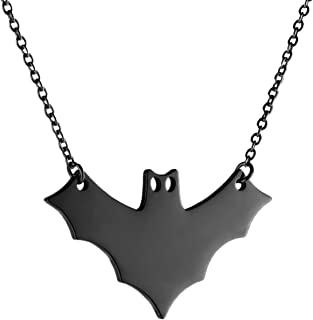 """HZMAN Halloween Stainless Steel Gothic Vampire Bat Pendant Necklace Simple Clavicle Jewelry for Women Girl 18+ 20"""""""