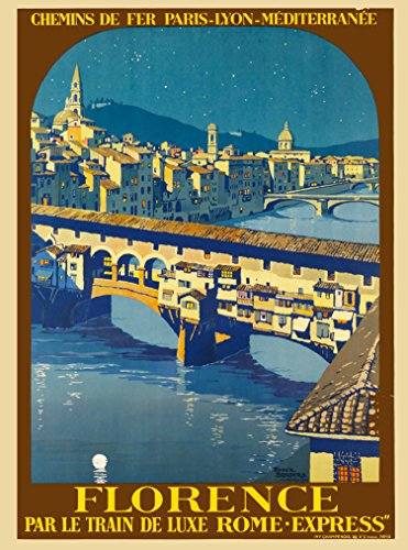 Florence Italy Par le Train de Luxe Rome - Express Italian Europe European Original Travel Collectible Wall Decor Poster Print. Poster measures 10 x 13.5 inches.