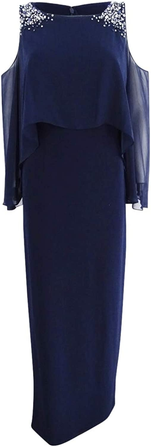 Vince Camuto Womens Cold Shoulder Capelet Evening Dress