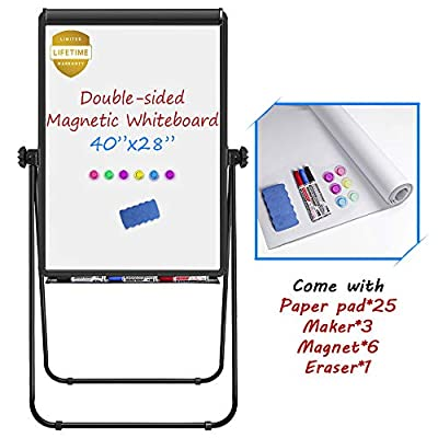 Stand White Board, Magnetic Dry Erase Board 40 x 28 inches Flipchart Pad Double Sided, Height Adjustable Portable Whiteboard with Paper Pad, 1 Eraser, 3 Markers, 6 Magnets, Black by TRIPOLLO