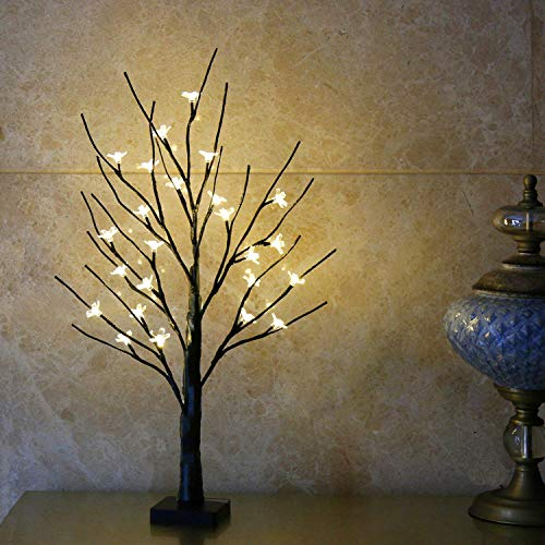 Eambrite Battery-Operated 24' Cherry Blossom Flower Bonsai Tree Lights with 24 Warm White LED for Indoor use