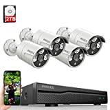 8ch POE NVR Security Camera Systems Outdoor Wired,OOSSXX IP Video Security Camera System POE,Wired 4 Channel 5MP POE Security IP Camera Outdoor Surveillance System,One-Way Audio,2TB Hard Drive