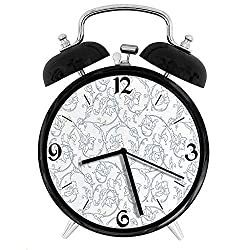 Flower Orchids Bohemian Style Vintage Petals Vines Pattern French Country Style, Metal Double Bell Alarm Clock, Family Bedroom Travel School Battery Operation Light (Black) 4in