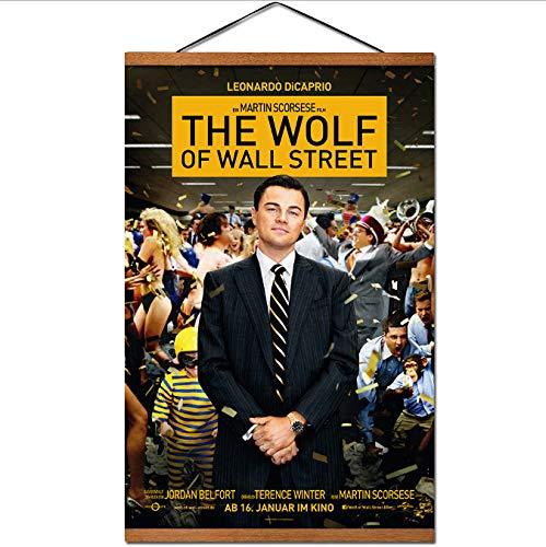 yhnjikl El Lobo de Wall Street Póster de la película Colgante Desplazamiento Pintura de la Lona con Madera de Teca Arte de la Pared Imágenes 40X60Cm Sin Marco