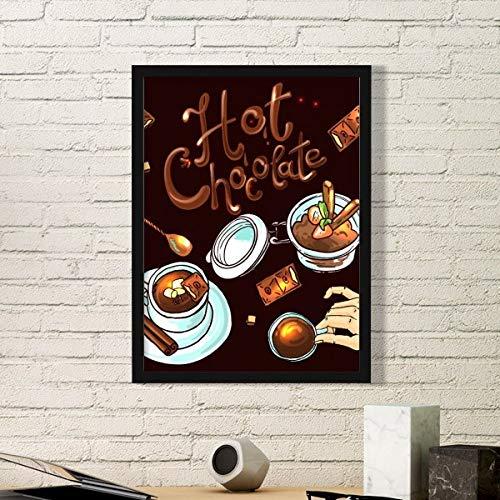 DIYthinker Hot Chocolade Desserts drinken Frankrijk Eenvoudige fotolijst Kunst Prints Schilderijen Thuis Muursticker Gift