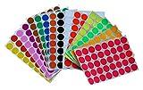 Runde Punkt-Aufkleber,19mm selbstklebende farbige Punkte 1120 Kleine runde Aufkleber 16 Farben für Büro, Schule, Kalender, Karten-Aufkleber