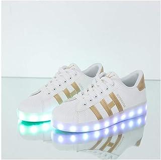 Chaussure Lumineuse,Hommes Femmes -7 Couleurs Lumière -USB Clignotantes Rechargeables Baskets White ~ Gold-44