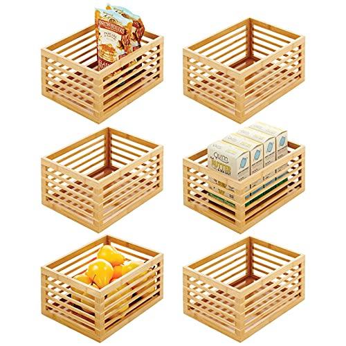 mDesign Scatola bambù per la cucina – Organizer cucina per ripiani e dispense – Organizer portaoggetti ideale per tè, caffè, snack e cibi confezionati – Set da 6 – naturale