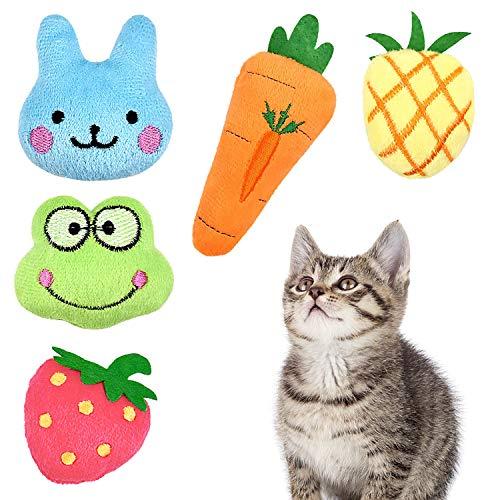 Comius Sharp Katzenminze Plüsch Spielzeug, 5 Stück Katzenminze Kissen Katzenspielzeug, Natürliches Katze Interaktive Kauen Spielzeug für Katze/Kitty/Kätzche