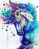 Pintura por Números DIY Pintura por números para Adultos y Niños (caballo) con Pinceles y Pinturas Decoraciones para el Hogar Sin Marco, 40 x 50 cm