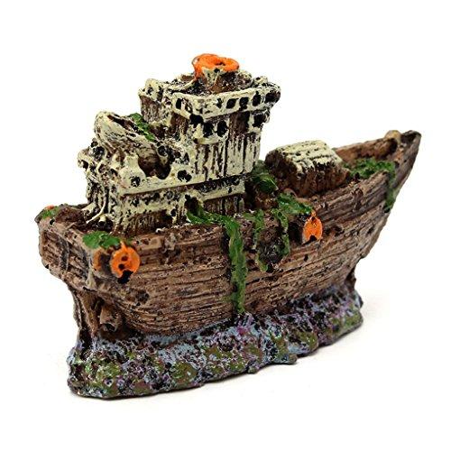 Guangcailun Ornamento del Acuario Pirata hundido del naufragio del Barco Barco Fish Tank Waterscape Cueva Decoración
