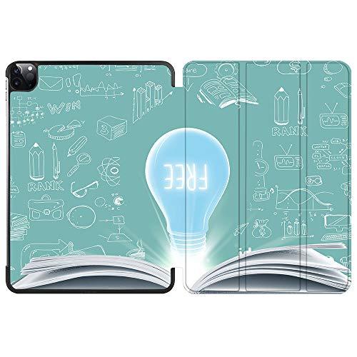 SDH Funda inteligente para iPad Pro de 12,9 pulgadas 2020 4ª generación,función atril y apagado automático, compatible con Apple iPad 12,9 pulgadas 2020 A2229 / A2233, bombilla 7