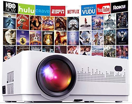 """DBPOWER Mini Proiettore Portatile Full-HD 1080P, Videoproiettore Home Theater 200"""", 5000lm, Cineproiettore Multimediale Compatibile TV Stick/HDMI/VGA/USB/AV e PC, Laptop, Smartphone, Console Giochi"""