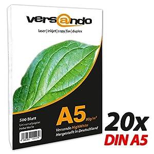 versando – Papel ecológico para impresoras y fotocopiadoras (reciclado), color blanco, color DIN A5 (148x210mm) hochweiß f) 10.000 Blatt