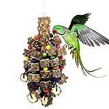 *Mothcattl Papageien-Spielzeug, Papageien-Papageien-Papageien-Holz-Biss große Schnüre Vogelkäfig Spielzeug Anhänger Puzzle Backenzähne Spielzeug Vogel-Zubehör (Farbe zufällige Farbe)