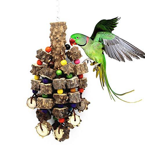 Mothcattl Papageien-Spielzeug, Papageien-Papageien-Papageien-Holz-Biss große Schnüre Vogelkäfig Spielzeug Anhänger Puzzle Backenzähne Spielzeug Vogel-Zubehör (Farbe zufällige Farbe)