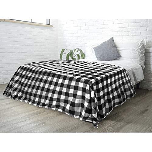 Manta de forro polar de franela para sofá, cama, terciopelo supersuave, diseño a cuadros, cálida y acogedora, de microfibra ligera, 60 x 80 pulgadas, color blanco y negro