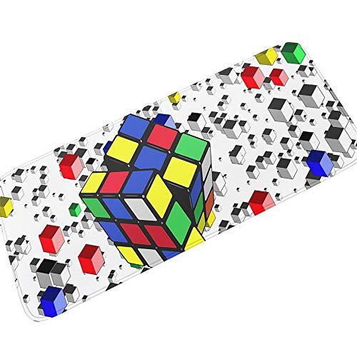 Antideslizante Caucho Respaldo Alfombras De Baño Alfombra de franela para Felpudos Dormitorio Suelo Decoraciones,Alfombra De Baño Gruesa De 11MM De Color Simple Rubik'S Cube Print,50X160CM