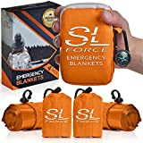 SLFORCE Emergency Blankets for Survival, 4 Pack of Gigantic Space Blanket. Comes with Four Extra-Large Mylar Blankets, Compass, and Zipper Bag. The Best Thermal Space Blankets Survival Heavy Duty.