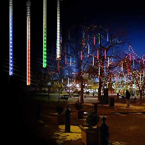Luces navideñas Lluvia de meteoritos Luces de lluvia 8 tubos 192 LED Enchufe impermeable en lluvia que cae para Halloween Fiesta navideña Fiesta en casa Patio Decoración al aire libre, Multicolor