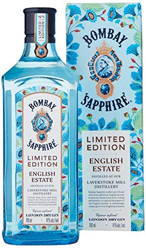 Bombay Sapphire London Dry Gin, English Estate Limited Edition con Astuccio, con Botaniche di Rosa Canina, Menta Pennyroyal e Nocciola, 70 cl