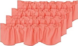 H.VERSAILTEX Room Darkening Kitchen Valances for Windows Rod Pocket Curtain Valances for Bathroom Coral, Pack 4, 52 inch by 18 inch