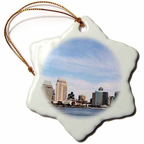 3dRose San Diego Skyline-Bay, California, City, Travel, Blue, Urban, Downtown, Water, Cityscape, Ocean Snowflake Ornament, 3-Inch