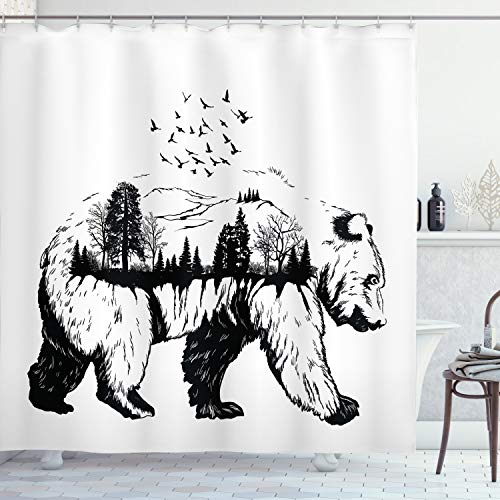 """Ambesonne Cabin Shower Curtain, Hand Drawn Bear Double Exposure with Forest Trees Flying Birds Concept Artwork, Cloth Fabric Bathroom Decor Set with Hooks, 70"""" Long, White Black"""