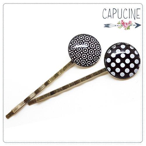 2 pinces bronze cabochons verre à pois - pinces cheveux cabochon - Barrettes cheveux illustrées - Pois noirs & Blancs